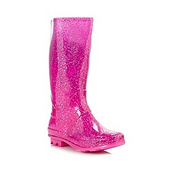 bluezoo - Girl's bright pink glitter wellies