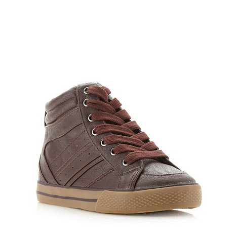 bluezoo - Boy's dark brown high top trainers