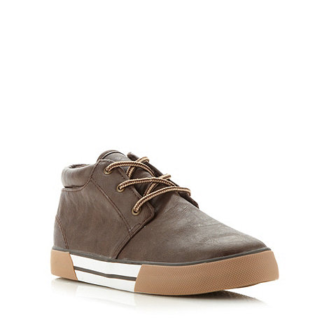bluezoo - Boy+s brown fleece lined lace up trainers