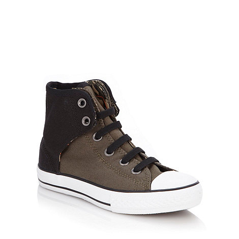 Converse - Boy+s green trim high top trainers