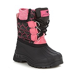 Pineapple - Girl's black heart quilted snow boots