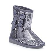 Pineapple girl's silver sequinned boots