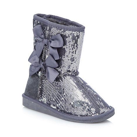 Pineapple - Girl+s silver sequinned boots