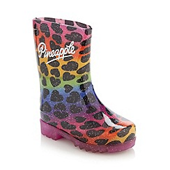 Pineapple - Girl's purple light up wellies