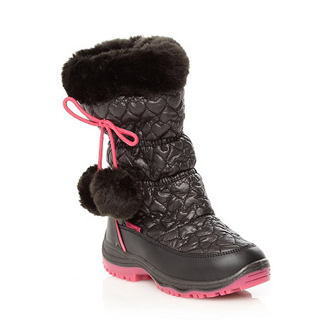 Pineapple - Girl+s black quilted snow boots