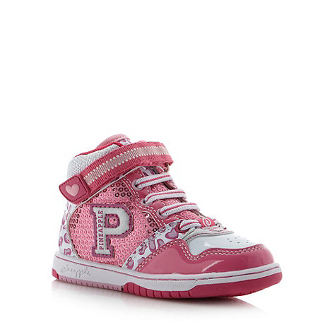 Pineapple - Girl+s pink sequinned high top trainers