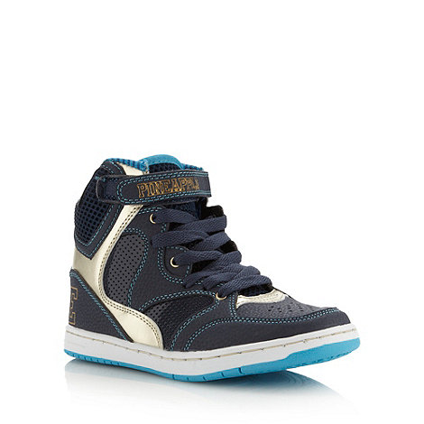 Pineapple - Girl+s navy logo high top trainers