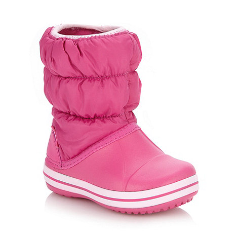 Crocs - Girl+s pink puffed boots