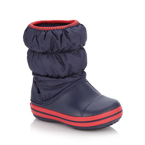 Crocs - Boy+s navy puffed snow boots