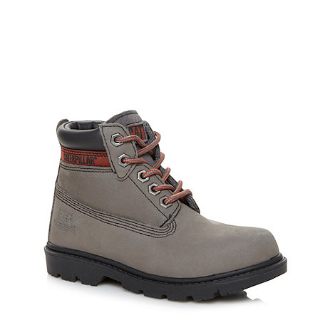 Caterpillar - Boy+s grey leather ankle boots