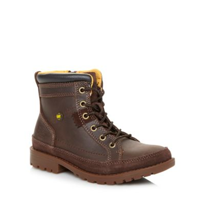 Caterpillar Boy´s chocolate leather ankle boots - . -