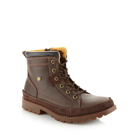 Caterpillar - Boy+s brown leather +Thomas+ boots