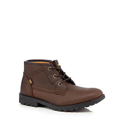 Caterpillar - Boy+s tan rip tape boots