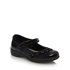 Debenhams - Girls' black patent scuff resistant flower mary jane school shoes