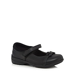 Debenhams - Girls' black scuff resistant leather leather bow mary jane school shoes