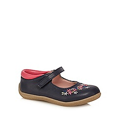 bluezoo - Girls' navy floral embroidered pumps
