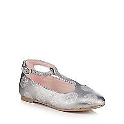 J by Jasper Conran - Girls' silver glitter spot t-bar shoes