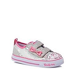 Skechers - Girls' silver glitter 'Twinkle toes' trainers