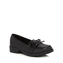 Debenhams - Girls' black scuff resistant patent bow loafer school shoes
