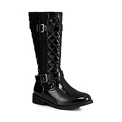 bluezoo - Girls' black patent quilted boots