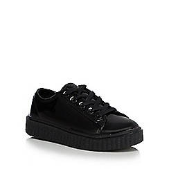 Debenhams - Girls' black patent flatform school shoes
