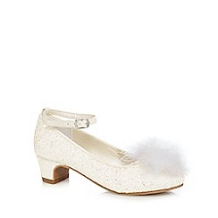 RJR.John Rocha - Girls' white glitter swan feather princess heeled shoes