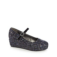 bluezoo - Girls' navy glitter detail wedge heels
