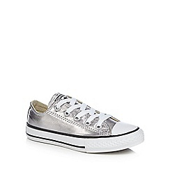 Converse - Girls' silver 'Chuck Taylor' lace up trainers