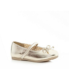bluezoo - Girl's gold bow strap pumps