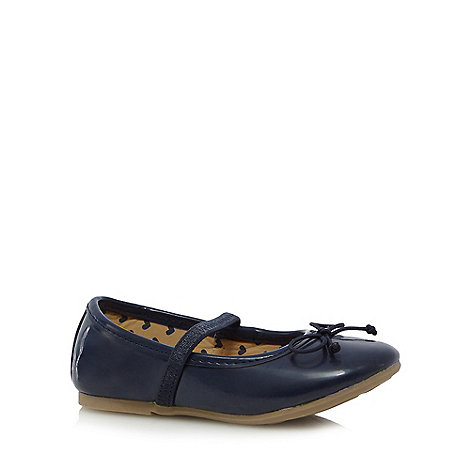 bluezoo - Girls+ navy bow slip on shoes