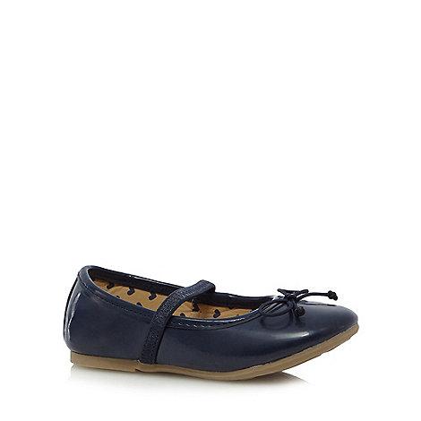bluezoo - Girls+ navy bow slip on shoes