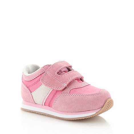 bluezoo - Girl+s pink suede leather panelled trainers