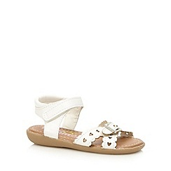bluezoo - Girl's white cutout heart strap sandals