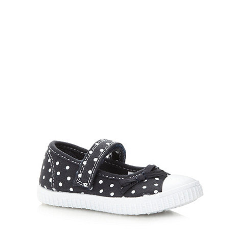 bluezoo - Girl+s navy spotted canvas shoes