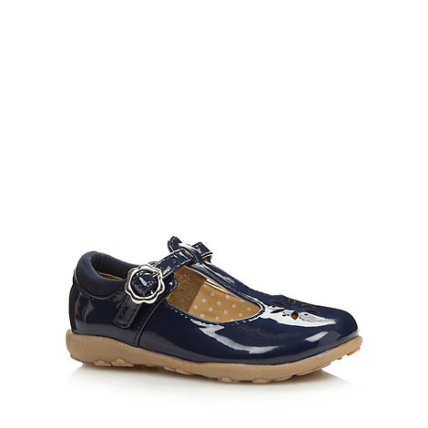 bluezoo - Girl+s navy patent cutout shoes