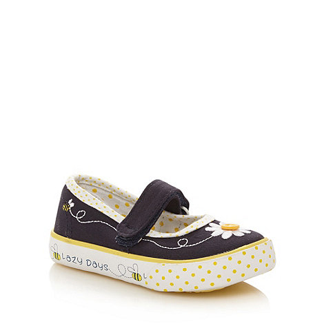 bluezoo - Girl+s navy embroidered daisy shoes