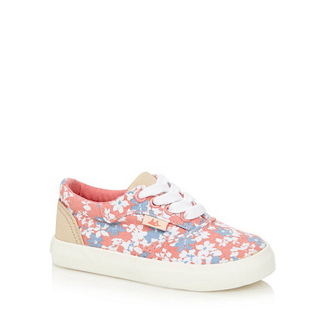 Mantaray - Girl+s pink floral canvas trainers