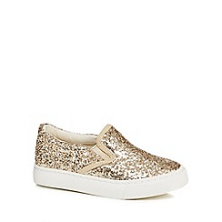 bluezoo - Girls' gold glittery slip on trainers
