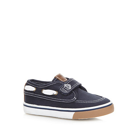 bluezoo - Boy+s navy canvas boat shoes