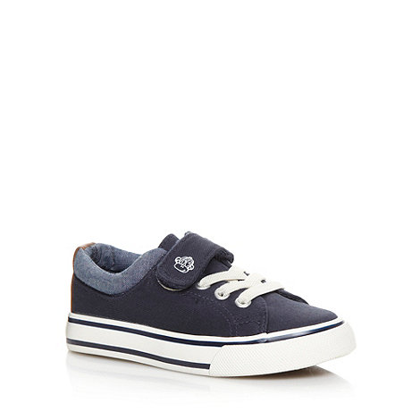 bluezoo - Boy+s navy lace front tab trainers