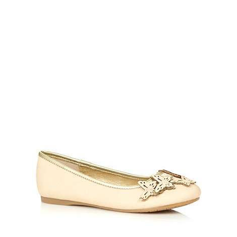 bluezoo - Girl+s cream metallic butterfly cutout pumps