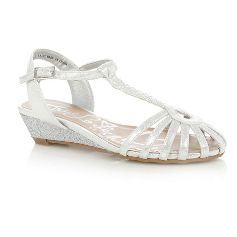 bluezoo - Girl+s silver glitter cage wedge sandals