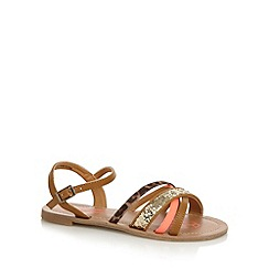 bluezoo - Girl's tan crossover glitter and animal strap sandals