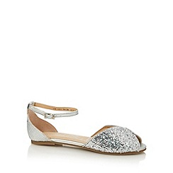 bluezoo - Girl's silver glitter peep toe pumps