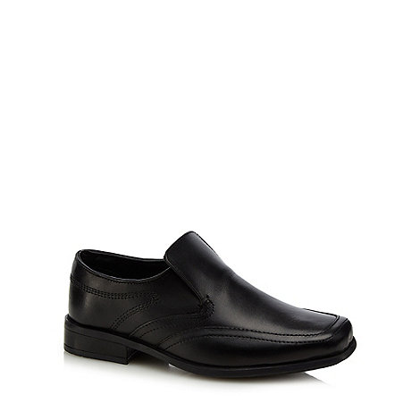 Debenhams - Boy+s black leather slip on shoes