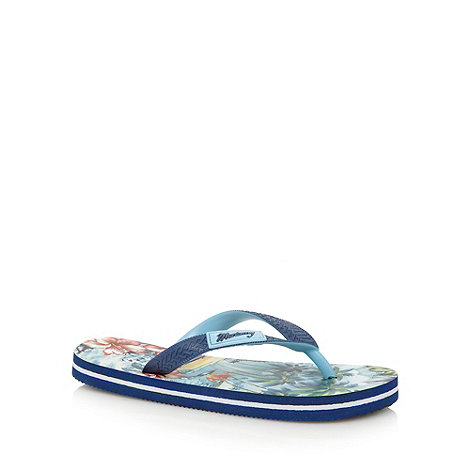 Mantaray - Boy+s navy Hawaiian print flip flops