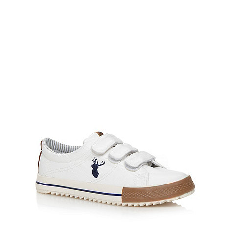 bluezoo - Boy's white three tab trainers