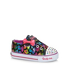 Skechers - Girl's neon animal print 'Twinkle Toes' trainers