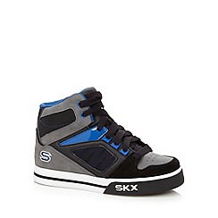 Skechers - Boy's blue leather hi-top trainers