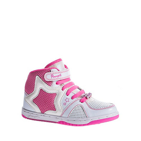 Pineapple - Girl+s white star high top trainers
